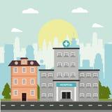 Ville d'architecture de façade d'histoire d'hôpital et de construction de logements Image stock