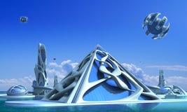 ville 3D futuriste avec l'architecture organique illustration libre de droits