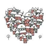 Ville d'hiver de l'amour, croquis de forme de coeur pour le votre Photographie stock libre de droits