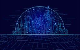 Ville d'hologramme illustration de vecteur