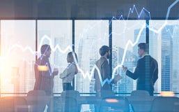 Ville d'hologramme de graphique de séance de réflexion d'équipe d'affaires Images stock