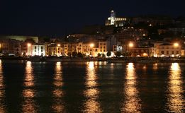 VILLE d'IBIZA par Night photographie stock