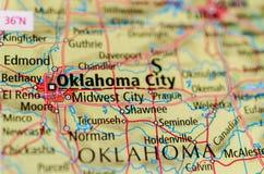 Ville d'Oklahoma sur la carte Photos libres de droits