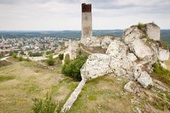 Ville d'Olsztyn et vieux château - Pologne. Image stock