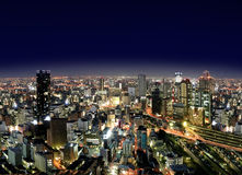 Ville d'Osaka par Night Photographie stock libre de droits