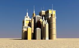 Ville d'or se levant à l'extérieur le désert Photo stock