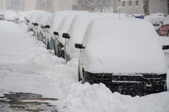 Ville dans la neige Photographie stock libre de droits