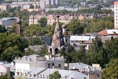 Ville dans la vue de la Russie d'en haut, le dessus de toit Photographie stock