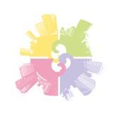 Ville dans quatre couleurs en pastel. Photographie stock