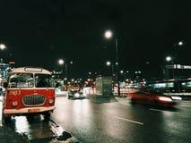 Ville dans une précipitation Image libre de droits