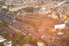 Ville de Bangkok d'échange de route de vue aérienne photo libre de droits
