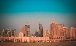 Ville de Bangkok du centre au temps crépusculaire photo libre de droits