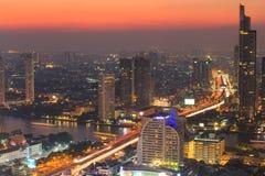 Ville de Bangkok la nuit, Thaïlande Image libre de droits