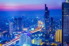 Ville de Bangkok la nuit, Thaïlande Images stock