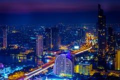 Ville de Bangkok la nuit, Thaïlande Photographie stock