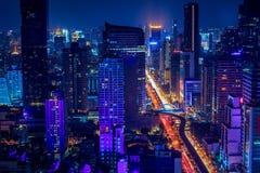 Ville de Bangkok la nuit, Thaïlande Photos libres de droits