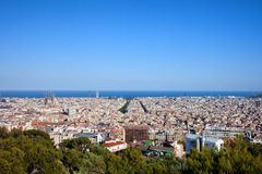 Ville de Barcelone d'en haut Photos stock