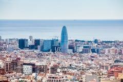 Ville de Barcelone vue du parc Guell photo stock
