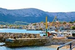 Ville de Baska, île Krk photo stock