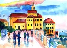 Ville de bord de la mer dans le coucher du soleil, promenade de personnes le long de la promenade illustration de vecteur