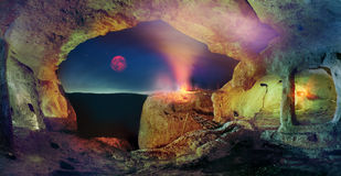 Ville de caverne en Crimée, Eski-Kerman Photographie stock libre de droits