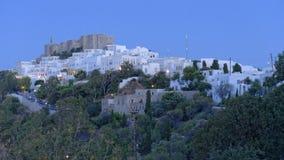 Ville de Chora sur l'île de Patmos Images stock