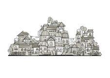 Ville de construction de vecteur de gamme de gris de bande dessinée