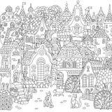 Ville de conte de fées de Zentangle illustration libre de droits