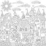 Ville de conte de fées de Zentangle illustration stock