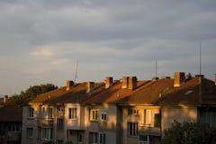 Ville de coucher du soleil Images libres de droits