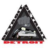 Ville de Detroit d'impression de croquis de bande dessinée de voitures de vintage Photo libre de droits