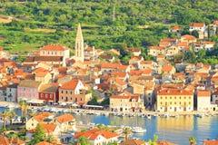 Ville de diplômé de Stari sur l'île Hvar, Croatie images libres de droits