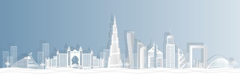 Ville de Dubaï dans une vue panoramique avec l'horizon de ville avec les points de repère importants et la coupe de renommée mond images stock