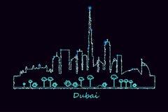 Ville de Dubaï la nuit Photo libre de droits