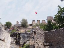 Ville de fantôme de Levissi Kayakoy image libre de droits