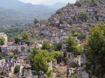 Ville de fantôme de Levissi Kayakoy images libres de droits