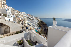 Ville de Fira, Santorini, Tira Island, Cyclades Photo stock