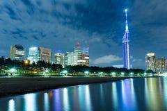 Ville de Fukuoka avec le bord de la mer Momochi du Japon photographie stock libre de droits