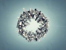 Ville de Futuristc autour d'une boucle Images stock