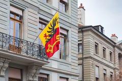 Ville de Genève, Suisse Drapeau avec le manteau des bras Image stock