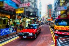 Ville de Hong Kong avec des annonces de transport et d'abondance Image libre de droits