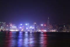 Ville de Hong Kong la nuit photos stock