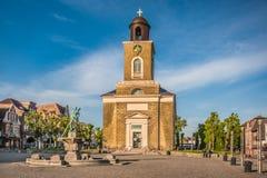 Ville de Husum avec Marienkirche, Nordfriesland, Schleswig-Holstein, Allemagne images stock