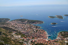Ville de Hvar d'air Images libres de droits