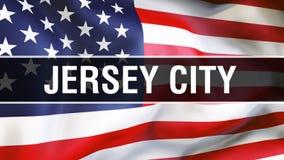 Ville de Jersey City sur un fond de drapeau des Etats-Unis, rendu 3D Drapeau des Etats-Unis d'Amérique ondulant dans le vent Indi illustration de vecteur