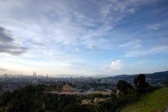 Ville de Kuala Lumpur de vue de soirée Images stock