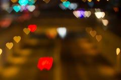 Ville de l'amour Bokeh de coeur Image libre de droits