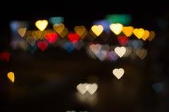 Ville de l'amour Bokeh de coeur Photographie stock