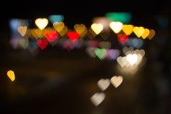 Ville de l'amour Bokeh de coeur Images libres de droits