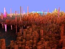 Ville de l'avenir, gratte-ciel, la science-fiction Photos libres de droits